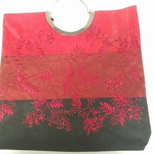 Red and Black Embroidered and Beaded Purse